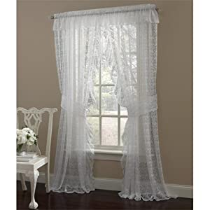 84 Long White Priscilla Ruffled Lace Curtain Pair With Tiebacks Home Kitchen