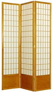 Oriental Furniture Extra Tall Version, 78-Inch Window Pane Japanese Shoji Privacy Screen Room Divider, 4 Panel Honey