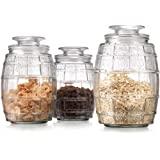 Set of 3 Glass Barrel Design Canister Jars with Tight Lids for Kitchen or Bathroom ~ 36/46/56-oz Food Storage Containers