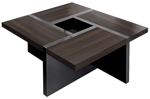 Quadro-Uno - Tavolino di design, 80 x 80 x 35 cm, colore: Nero 80 x 80 x 35 cm Acero/Cioccolato