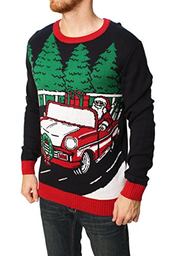 Ugly Christmas Sweater Santa's Red Sled Pullover Sweater
