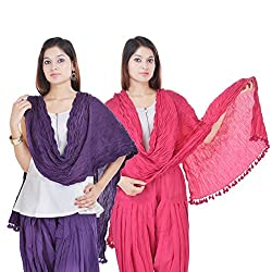 Kalrav Solid Purple and Light Pink Cotton Dupatta Combo