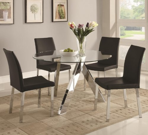 Cheap 5pc Dining Table Set with Glass Top in Chrome Finish (VF_DINSET-100498-120762)
