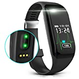 Fitness Tracker with Heart Rate monitor, E3 Activity Watch Step Walking Sleep Counter Wireless Wristband Pedometer Exercise Tracking Sweatproof Sports Bracelet for Android and iOS Black, EIISON