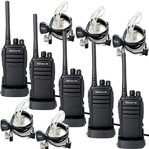 Retevis RT21 Two Way Radio 16 CH UHF 400-480MHz VOX Scrambler Ham Radio (5 Pack) and 2 Pin Covert Air Acoustic Earpiece (5 Pack)