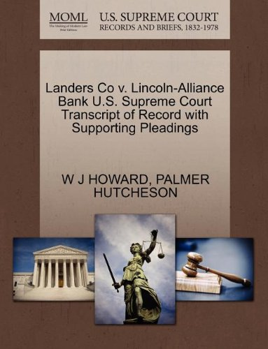 landers-co-v-lincoln-alliance-bank-us-supreme-court-transcript-of-record-with-supporting-pleadings