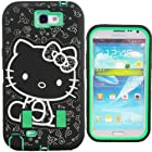 Kuteck® Outter Black Hello Kitty Design Combo High Impact Shockproof Dirt Proof Durable Armor Hard Box Case For Samsung Galaxy Note 2 N7100 (Hello Kitty / Green)