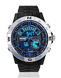 Skmei Sports Stop Watch Analog - Digital Silver Dial Mens Watch - AD1110