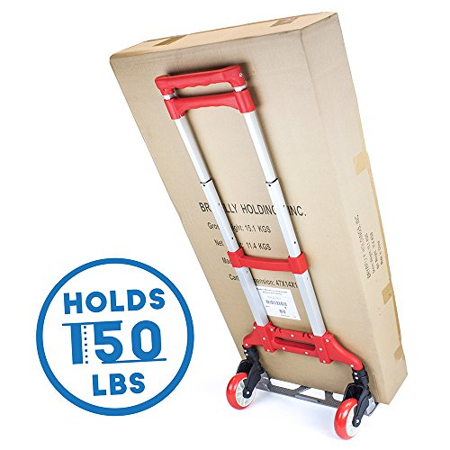 150 lb. Capacity Aluminum Hand Truck, Folds Down to Just 2″ by Knack (Blue)
