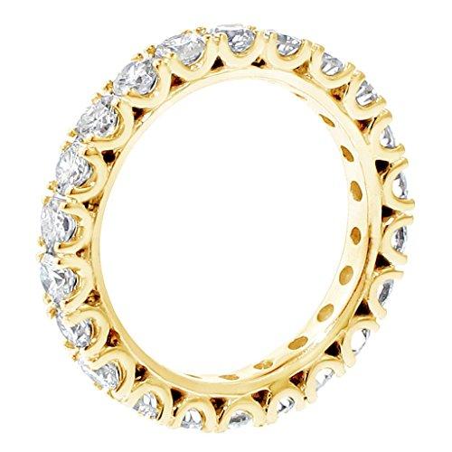 1.90 Ct Tw Diamond Eternity Wedding Band In Fishtail 14K Yellow Gold Setting - Size 6