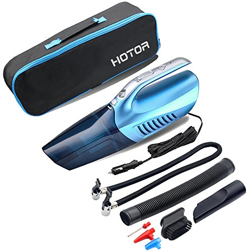Car Vacuum Cleaner,Tire Inflator,Tire Pressure Gauge & Bright Led Light,HOTOR 4 in 1 Powerful Wet/Dry 12V 100W Vacuum for Car(Blue) (Car Tires Lights compare prices)