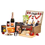 Contemporary Red Faux Leather 4 Person Chiller Wicker Picnic Hamper Basket with Veuve Clicquot Rose Champagne 75cl & Gourmet Food Selection Including Smoked Duck, Bruschetta, Blue Stilton & Mature Cheese Truckle, Caviar, Stuffed Olives, Anthon Berg Lique