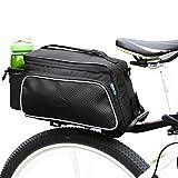 【ROSWHEEL】 自転車 サドルバッグ 大容量 多機能 自転車バッグ 通勤 通学 サイクリング用 ショルダーバッグ ハンドバッグ ショルダーベルト付 (ブラック)