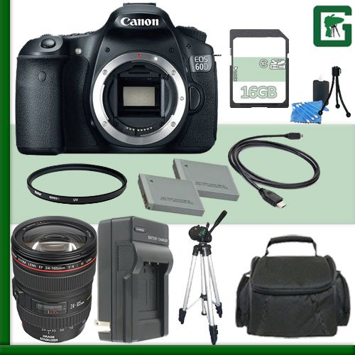 Canon Eos 60D Digital Slr Camera And Canon 24-105Mm Lens + 16Gb Green'S Camera Package 1