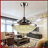 OCT® Indoor Pendant Lights Modern 3 Clear Shrinkable Blades +Wireless Remote Control Brushed Chrome Modern Crystal Chandelier 46 Inch Led Ceiling Fan Lights