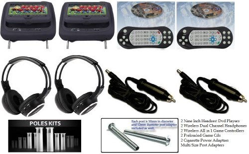 """New Black Color Pair Headrest With 9"""" Lcd Car Monitors With Region Free Dvd Player Usb Sd Inc. 2 Wireless Dual Channel Headphones And 32 Bit Game And 2 Wireless Game Controllers And Rca Input And Rca Output"""
