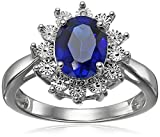 Sterling Silver Created Sapphire and Diamond Ring, Size 7