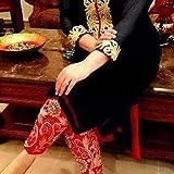 RAMAPIR CRATION BLACK RED DRESS MATERIAL