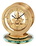 Seiko Mantel Clock Gold-tone Metal and Glass Case Skeleton Movement #QHG038GLH