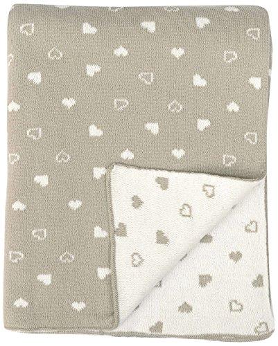 "DARZZI Baby Heart Baby Blanket, Stone/Natural, 35""x45"""