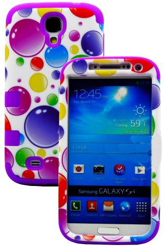 """Mylife (Tm) Violet Purple - Colorful Bubble Pattern Design (3 Piece Hybrid) Hard And Soft Case For The Samsung Galaxy S4 """"Fits Models: I9500, I9505, Sph-L720, Galaxy S Iv, Sgh-I337, Sch-I545, Sgh-M919, Sch-R970 And Galaxy S4 Lte-A Touch Phone"""" (Fitted Fro"""