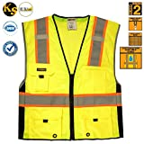 KwikSafety Class 2 Safety Vest High Visibility Deluxe Reflective Safety Vests Construction Reflective Multiple Pockets Meets ANSI/ISEA 107-2010 Class 2 Level2 Yellow Size Large/XL