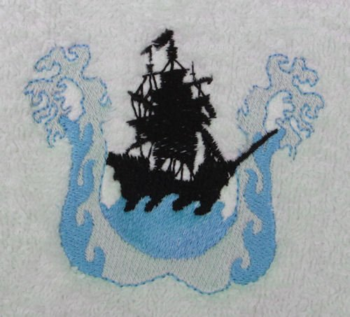Throw With Pirate Ship On The Waves Embroidered In The Corner (Royal Blue) front-906967