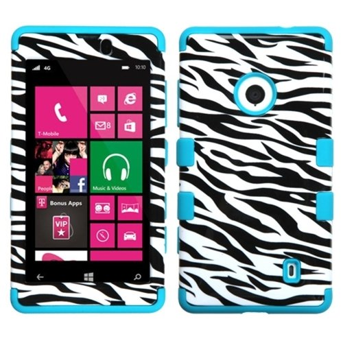MYBAT Hybrid Dual Layer Hard Crystal Skin Gel Snap-On Protector Cover Case For Nokia Lumia 521 - Retail Packaging - Zebra