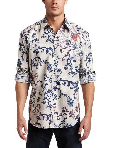 Robert Graham Men's Moon Dance Button Down Shirt, White, XLARGE