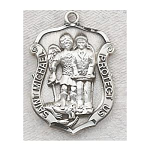 Silver Police St. Michael Patron Saint Medal Pendant Necklace: Jewelry