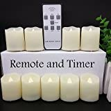 ?Timer?LAPROBING® 9-Candles 18-Cells LED Votive Tea Lights Candles Battery Operated Flickering Flameless Candles 2'' Dimmable Light with Remote Control for Wedding Decorations Birthday Parties Gift