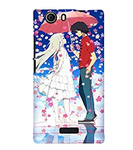 Printvisa Animated Rmantic Couple In A Flower Shower Back Case Cover for Micromax Canvas Nitro 2 E311::Micromax Canvas Nitro 2 (2nd Gen)