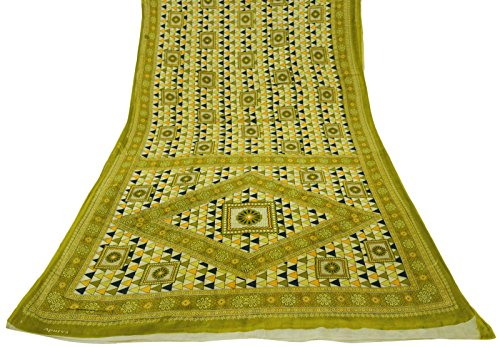 vintage-imprime-pure-cotton-floral-saree-green-dress-making-sari-craft-tissu