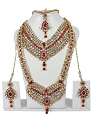 Gorgeous Royal Look Kundan Made Full Bridal Necklace Set For Women's Wedding Jewelry