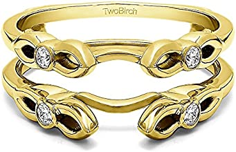 10k Gold Infinity Wedding Ring Enhancer with Charles Colvard Created Moissanite 026 ct twt