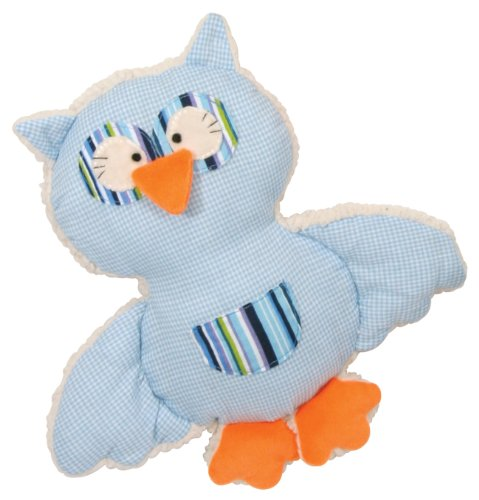 Stephan Baby Shabby Owl Shaggy Sherpa and Gingham Pillow Toy, Blue (Discontinued by Manufacturer)