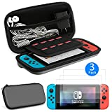 EEEKit 2-in-1 Starter Kit for Nintendo Switch, Protective Hard Travel Carry Accessories Case Bag, 3-pack HD Clear Full Coverage Screen Protector Film Guard