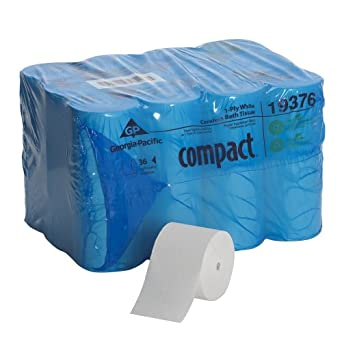 "Georgia-Pacific Compact 193-76 4.04"" Length, 3.85"" Width, 4.75"" Roll Diameter Coreless 1-Ply Bathroom Tissue (Roll of 36)"