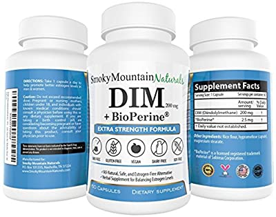 DIM (Diindolylmethane) / Extra Strength- 200mg with BioPerine (2 Month Supply). Promotes Beneficial Estrogen Metabolism in Both Men and Women. BioPerine Allows the Body to Better Absorb the DIM