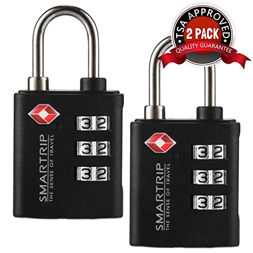 Smartrip TSA Lock 3 Dial Combination Luggage and Travel Padlock in Assorted Colors,2pcs(Black)