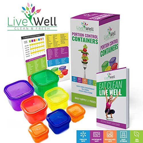 Portion Control Containers 7 Pieces Multi-Colored with BONUS GUIDE Planner & Recipes eBook - Comparable to 21 Day Fix - Diet & Weight Loss - Premium Quality 100% Lifetime Guarantee (Intake As You Use Less compare prices)