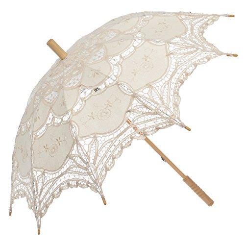 Remedios Ivory Bridal Wedding Cotton Lace Parasol Umbrella for Party Decoration 2