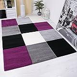 Moderner-Designer-Teppich-Kariert-Hoch-Tief-Strukturen-Lila-Grau-Wei-Schwarz-VIMODA-Mae-80x150-cm