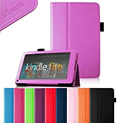FINTIE (Violet) Slim Fit Folio Stand Leather Case for Amazon Kindle Fire 7