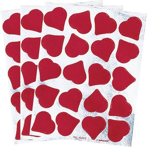 Red Foil Hearts Stickers 3 Sheets