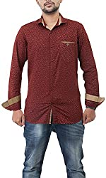 Passion Men's Slim Fit Casual Shirt (FS51752XLRDFS, Red, 2X-Large)