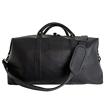 Weekender Travel Bag in Black Leather - Overnight Carry On Duffel Tote Bag with Brass Finishing
