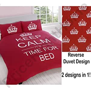 Set copripiumino rosso keep calm time for bed biancheria for Amazon piumoni matrimoniali