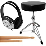 Essentials Electronic Drum Accessory Pack. Includes Stool, Studio Headphones and 5A Drumsticks