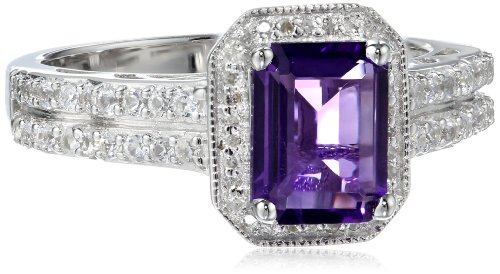 Sterling Silver Octagon Amethyst and Round Created White Sapphire White Diamond Ring, Size 7